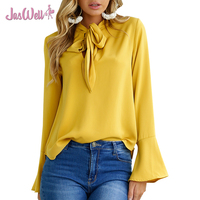 JasWell New Fashion Women Summer Chic Elegant Shirt Flare Sleeve Casual Lace Up Neck Blouses Ladies