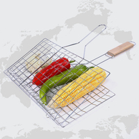 Barbecue Net Clip Stainless Steel 2 Fish Grilling Roast Folder Tool With Wooden Handle Outdoor Barbecue Mesh 48*31.5*18.5CM