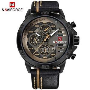 Image 2 - NAVIFORCE Mens שעונים למעלה מותג יוקרה עמיד למים 24 שעה תאריך קוורץ שעון איש עור ספורט שעון יד גברים עמיד למים שעון