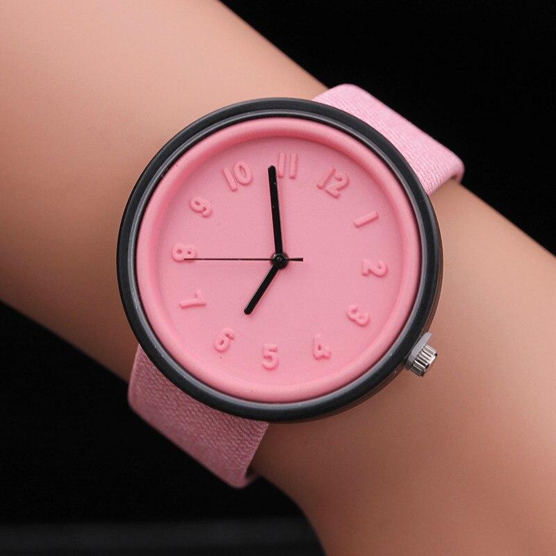 Unisex Wathes Women Mens Simple Fashion Number Watches Quartz Watch Canvas Strap Dress Wrist Watch Lady Wristwatch