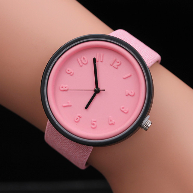 Unisex Wathes Women Mens Simple Fashion Number Watches Quartz Watch Canvas Strap