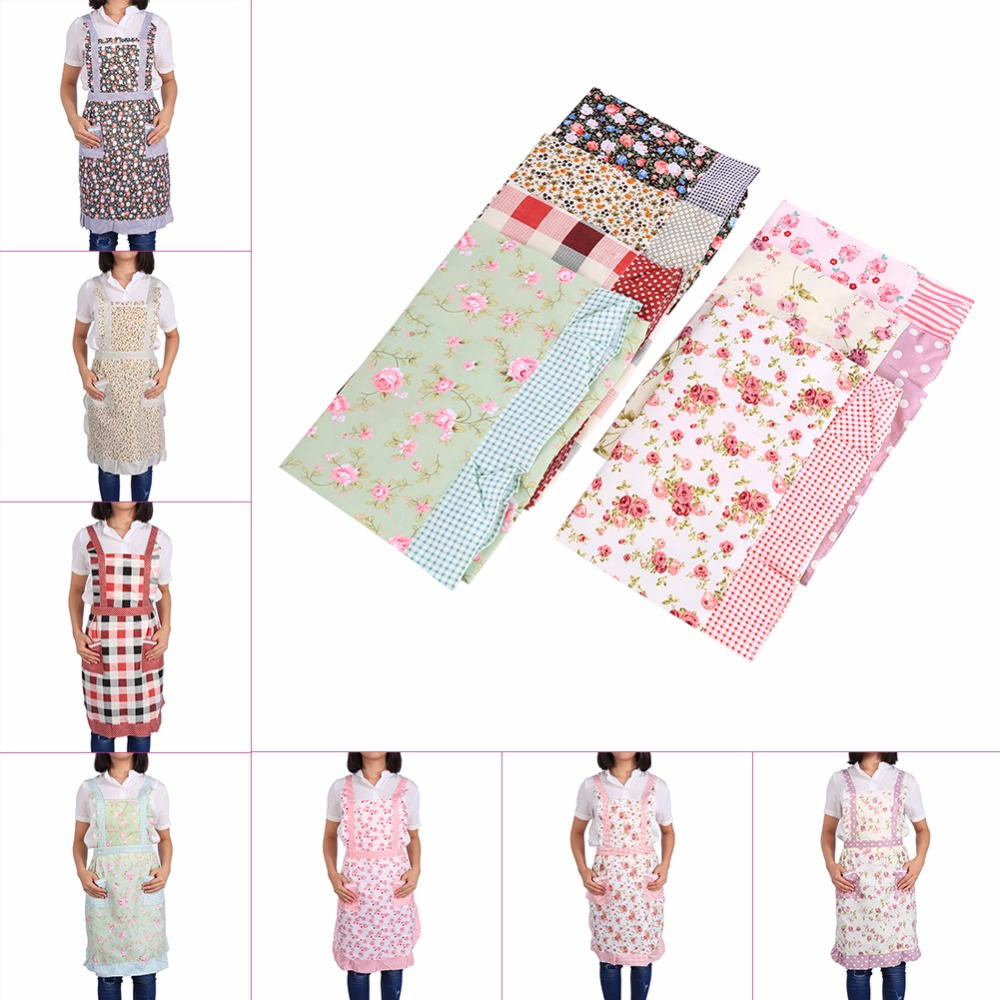 Fashionable Chef Apron 7 Patterns Women Apron Polyester Oil Proof for Home Kitchen Restaurant Cooking Outdoor Craft Table