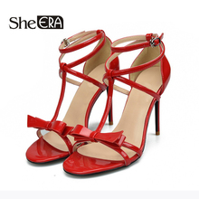 Купить с кэшбэком She ERA 2018 Sweet Bowtie Women Sandals Fashion Summer Casual Pumps for Women Zapatos Mujer 6/8/10cm Thin Heel Women High Heels
