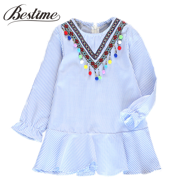 Fashion Girls Dress Blue Striped Long Sleeve Balls Tassels Kids Dresses for Girls Embroidery Autumn Children Dress Girls Clothes fashion 2016 new autumn girls dress cartoon kids dresses long sleeve princess girl clothes for 2 7y children party striped dress