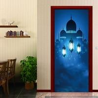 Creative Doors Home Stickers Arabic Style Light In The Dark Religion Lantern Bedroom Parlor Corridor Door Decoration Drop Order