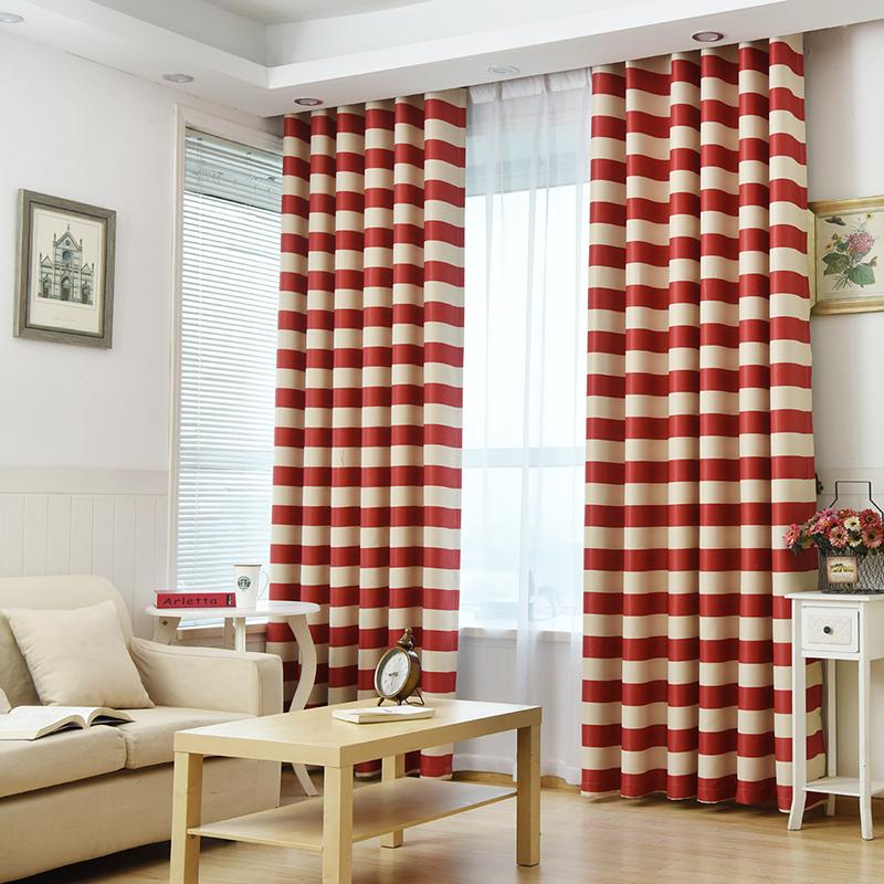 simple moderna cortina blackout cortinas para la sala de impresin mediterrneo rayas rojas cortinas de la cocina