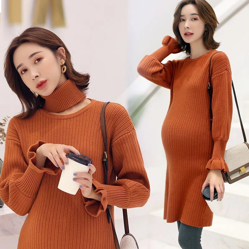 High Quality Autumn Maternity Sweater Dress Pregnancy Clothes Winter Dresses For Pregnant Women Maternity Dresses maternity dress autumn winter dresses for pregnant women turtleneck collar solid maternity clothing pregnancy loose clothes