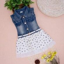2014 Новорожденных девочек джинсы платье дети рукавов джинсовые платья девушки детей джинсы летняя одежда с пояса джинсы платье для девочек