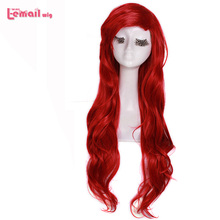 L-email wig 70cm 27.55inch Long Wavy Cosplay Wigs Red Synthetic Hair Perucas Cosplay Wig