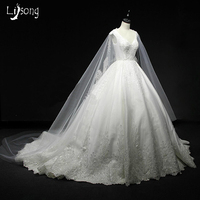 White Appliques Satin Floor Length Sleeves Cape Shawl Chic Wedding Dress Ball Gowns Custom Made Bridal Exquisite Formal Gown