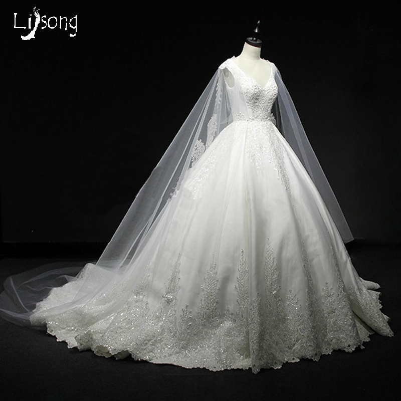 White Appliques Satin Floor Length Sleeves Cape Shawl Chic