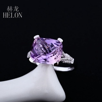 HELON 10x12mm Cushion Natural Amethyst Ring Sterling Silver 925 Ring Graded Cubic Zirconia Wedding Jewelry Ring Women's Jewelry