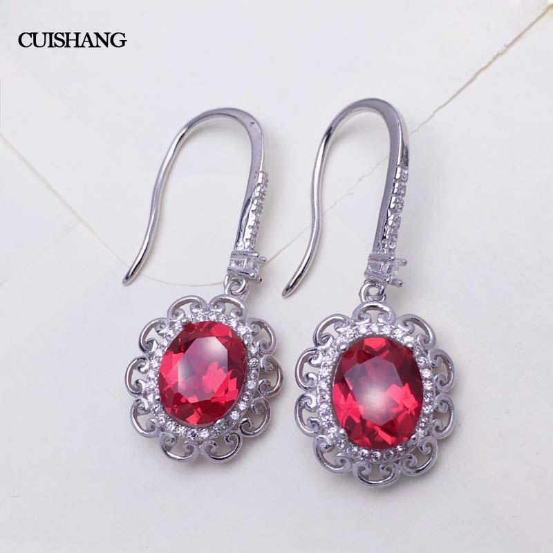 CSJ rouge rubis pur boucles d'oreilles solide 925 en argent Sterling pour les filles femmes pierres précieuses bijoux femmes mode
