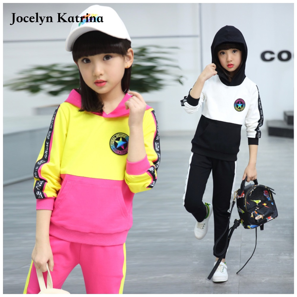 ФОТО 2017 New Autumn Long Sleeve Kids Girls Clothing Set Patchwork Hooded Children Boys Clothing Set 3 to 14Y Girls Sport Suit
