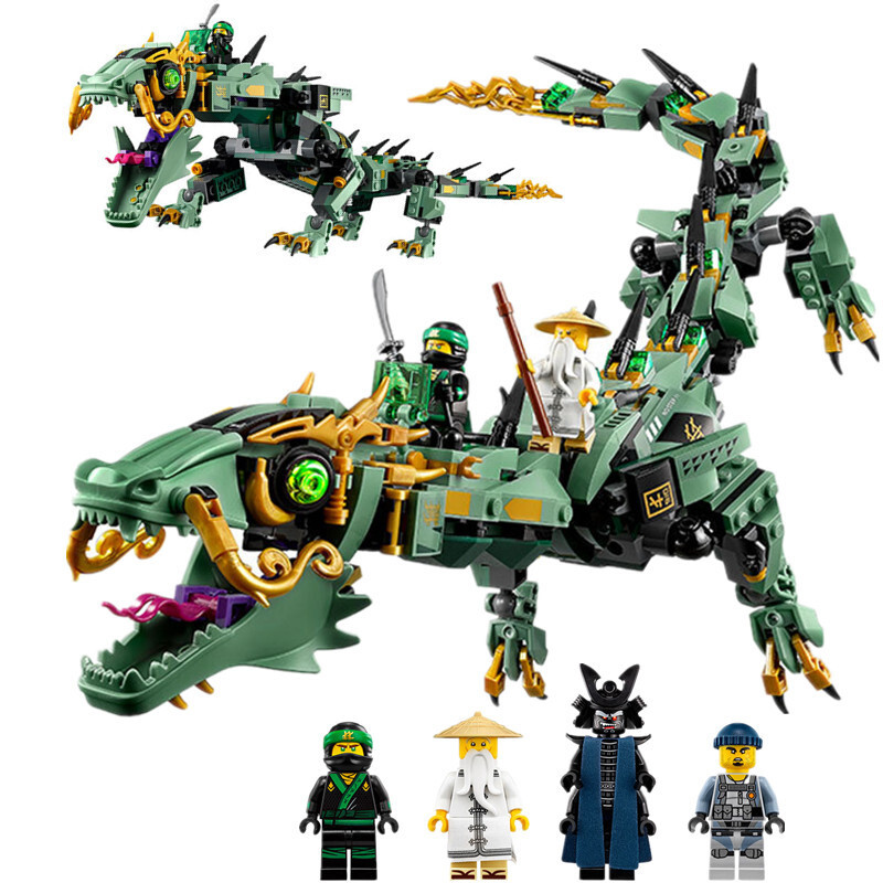 Lepin 06051 592Pcs Green Ninja Mech Dragon Lloyd Wu Garmadon Charlie Building Blocks Toys Compatible legoINGly Ninja Movie 70612 dhl new lepin 06039 1351pcs ninja samurai x desert cave chaos nya lloyd pythor building bricks blocks toys compatible 70596