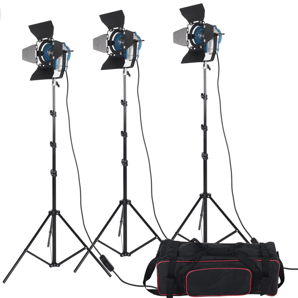 3 X 300W Studio Fresnel Tungsten with Dimmer Control Spotlight Video Light Kit Lighting with Carry Bag ashanks 3kits 800w dimmer switch studio video red head light kit bulb carry bag for video film light