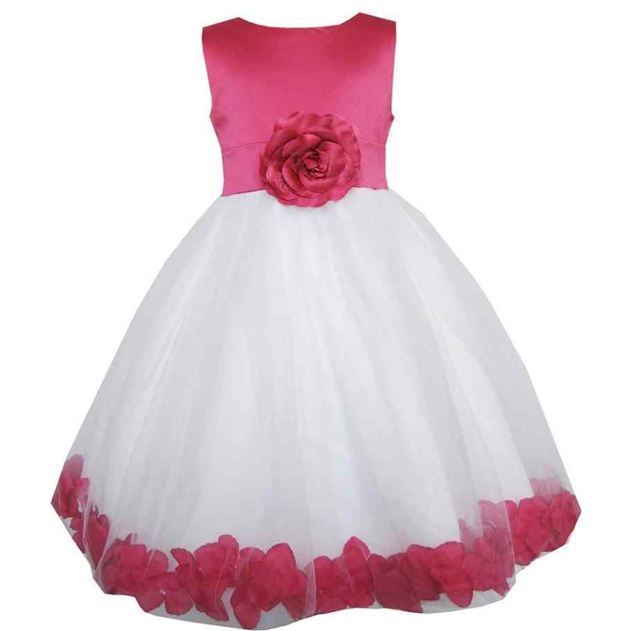 3803b1b49 Sunny Fashion Girls Dress Rose Flower Tulle Wedding Pageant Bridesmaid Kids  Clothes 2018 Summer Princess Party