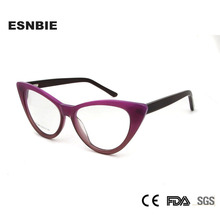 ESNBIE Acetate Cat Eye Spectacles Ladies Cats Glasses Frames For Women Prescription Eyewear Full Rim Optical Frame