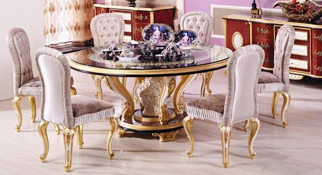 Tavolo Da Pranzo Rotondo : Stile europeo di lusso sculture in legno tavolo da pranzo rotondo