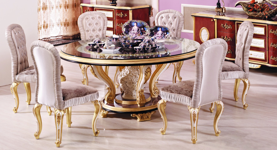 luxury European style woodcarving Round Dining Tablein