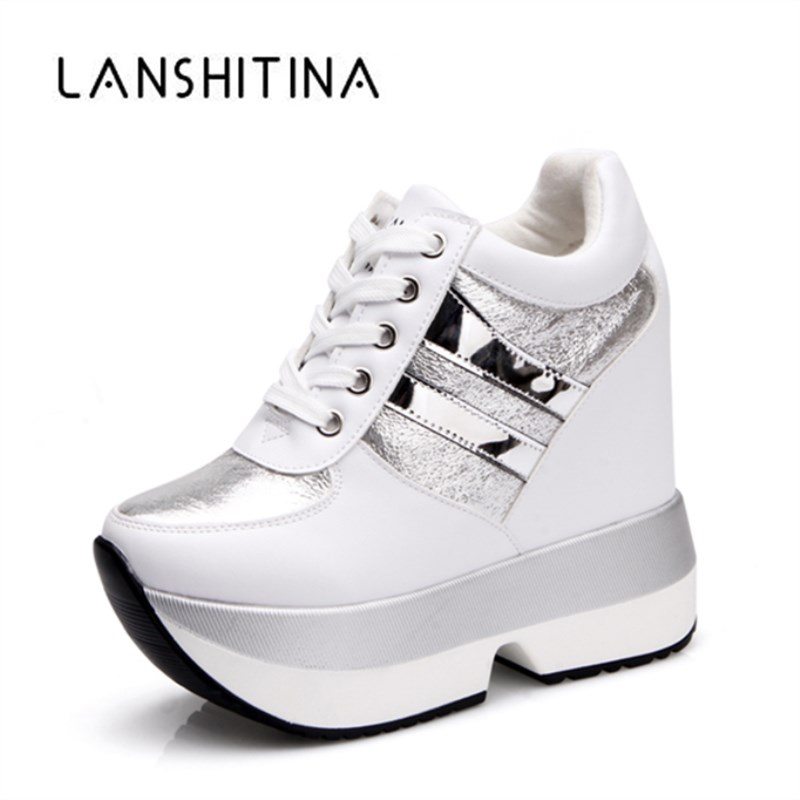 2018 Autumn Women High Platform Shoes Height Increasing Casual Shoes 12 CM Thick Sole Trainers Breathable Shoes Women Sneakers