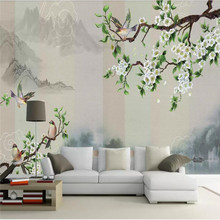 Custom wallpaper new ink landscape flowers and birds Chinese painting TV background wall waterproof material