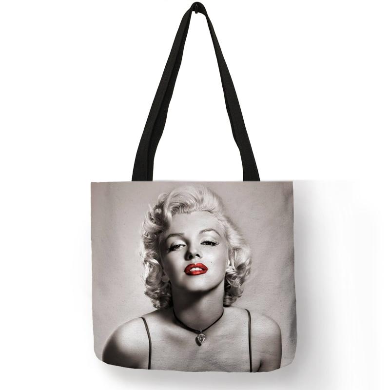 Customized Famous Marilyn Monroe Reusable Shopping Bag Eco Linen Bags With Quotes Print Women Fashion Handbags Dropshipping unique customize tote bag eco linen bags with audrey hepburn print reusable shopping bags fashion handbag totes for women