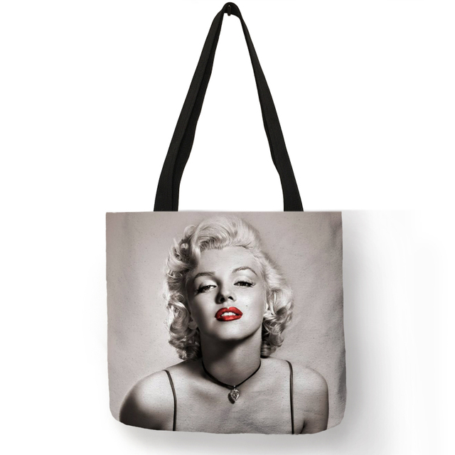 Customized Famous Marilyn Monroe Reusable Ping Bag Eco Linen Bags With Quotes Print Women Fashion Handbags
