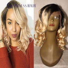 Short ombre dark roots blonde ombre 1b#T613# wavy Brazilian two tone full lace human hair wigs 14″-18″ short wigs with bangs