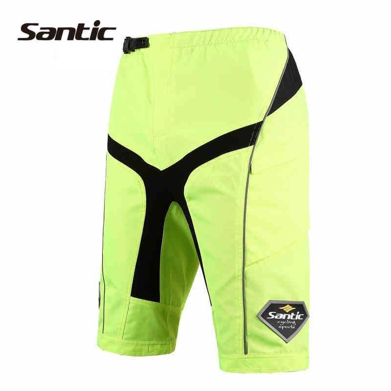 Мужские велосипедные шорты Santic с регулируемой талией и кнопками, быстросохнущие велосипедные шорты MTB со съемной защитой талии - 2