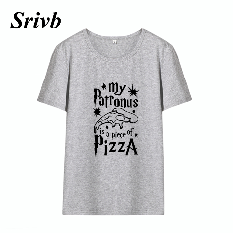 Srivb Summer My Patronus Pizza Graphic T Shirt Women Tumblr Funny Black White Cotton Women Tshirt Femme O-neck Vogue Tee Women
