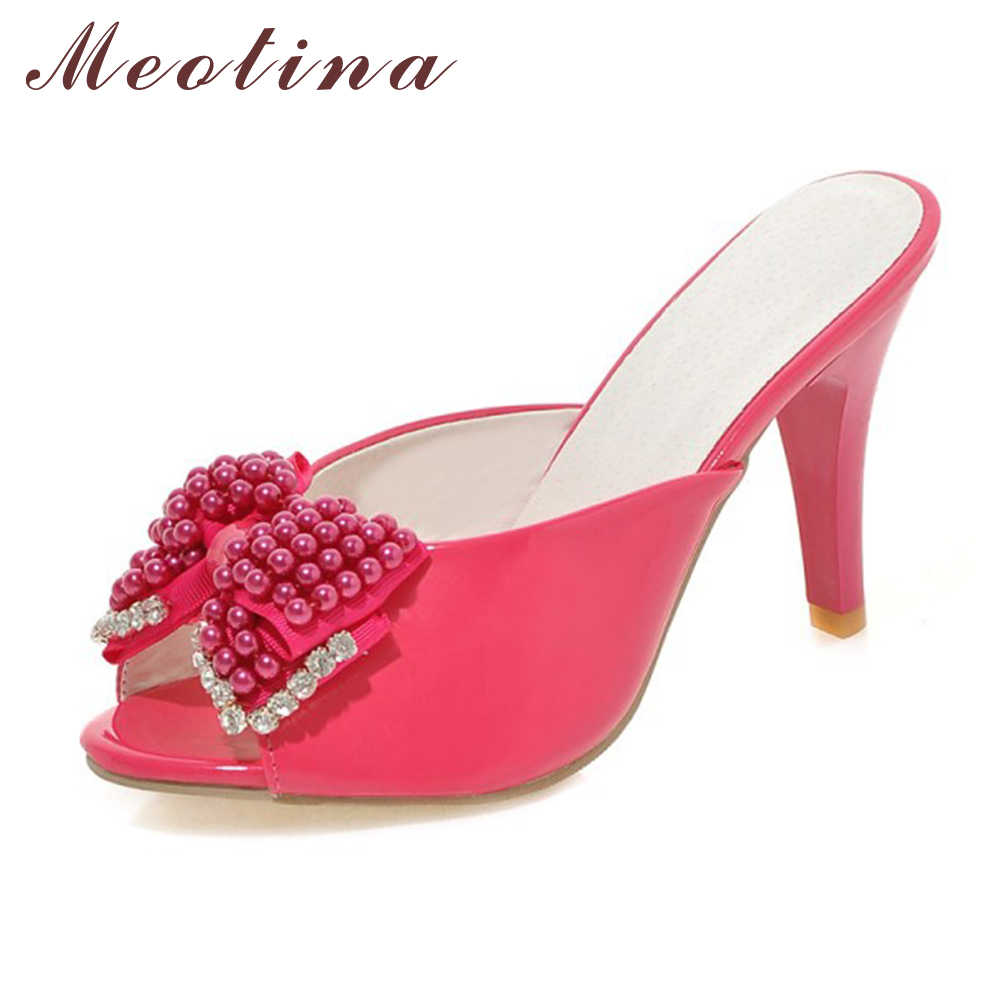 75b1053251936 Detail Feedback Questions about Meotina Women Sandals Party Slides Red  Evening Heels Summer Peep Toe Beading Ladies Slippers Crystal Shoes Red  White Size 9 ...