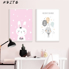 NDITB Cartoon Bunny Rabbit Wall Art Canvas Posters Nursery Prints Painting Nordic Kids Decoration Picture Baby Bedroom Decor