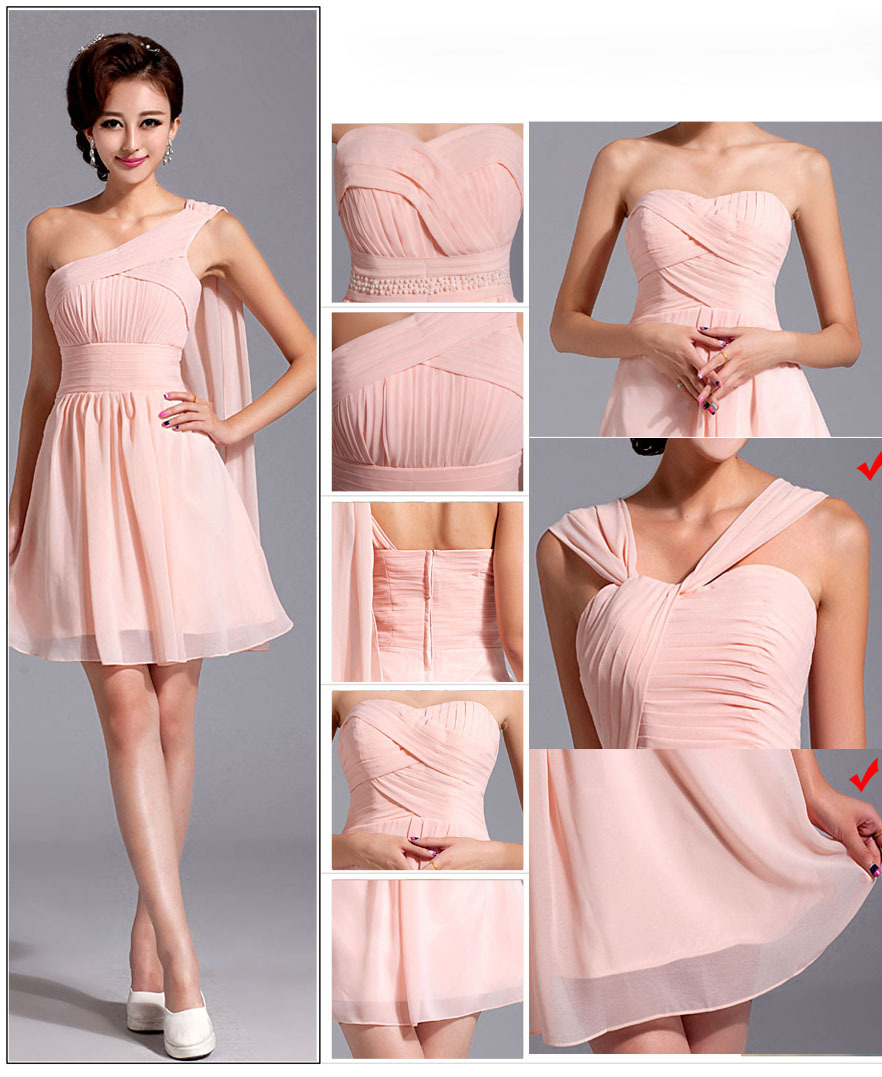 Free Shipping 6 Styles Pink Short Mini Bridesmaid Dresses Wedding ...