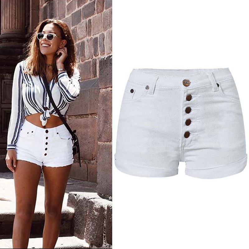 2019 Women Summer Shorts High Waist Women Mini Shorts Casual White Denim Shorts Femme Boho Shorts Streetwear