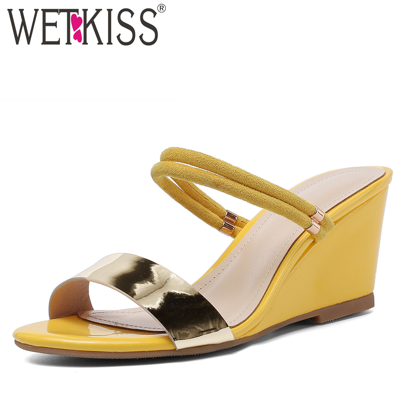 WETKISS Metal Decoration Slippers Woman Open Toe Footwear High Heels Slides Shoes Female Wedges Mules Shoes