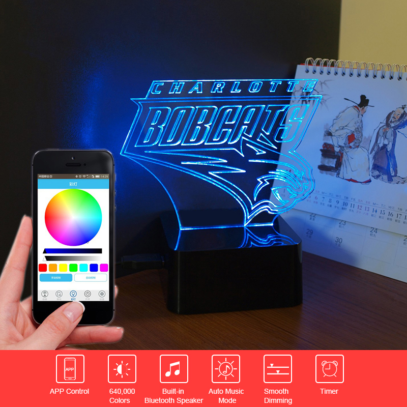 ФОТО Creative Gift Bobcat NBA 3D Music Light Bluetooth Speaker LED Night Touch Table Lampara Acrylic Colorful Child Nightlight Remote