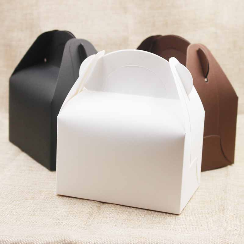 10pc/lot <font><b>Large</b></font> <font><b>Kraft</b></font> <font><b>Paper</b></font> <font><b>box</b></font> gifts With Handle Wedding /candy White Cardboard Cake <font><b>Box</b></font> black Cupcake <font><b>Box</b></font> for Package gifts image