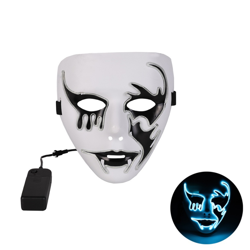 2019 Style EL Mask Halloween Party Masque Masquerade Masks Neon Mask Light Glow In The Dark Horror Masks Glowing Masker Z in Party Masks from Home Garden