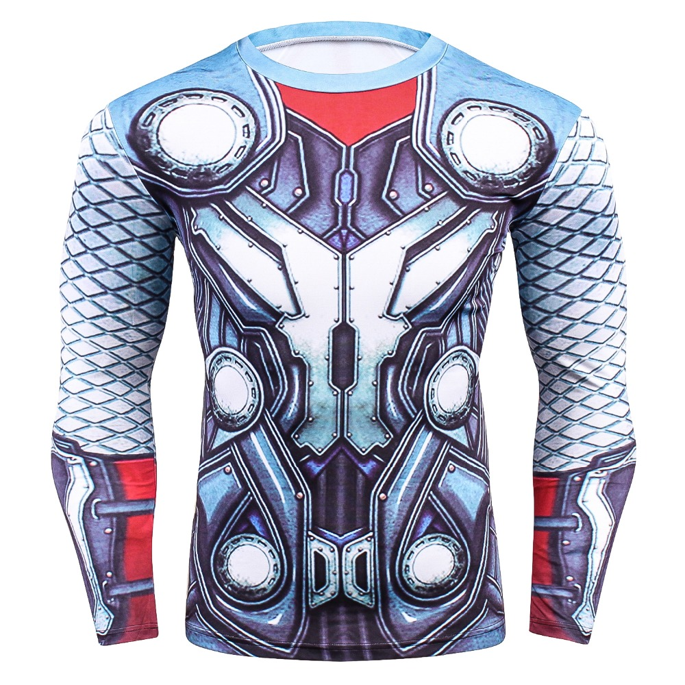 Thor Cartoon 3D Printed T shirts Quick Dry Breathable Tights Compression T-shirt Men Long Sleeves Fitness Bodybulding Tops & Tee