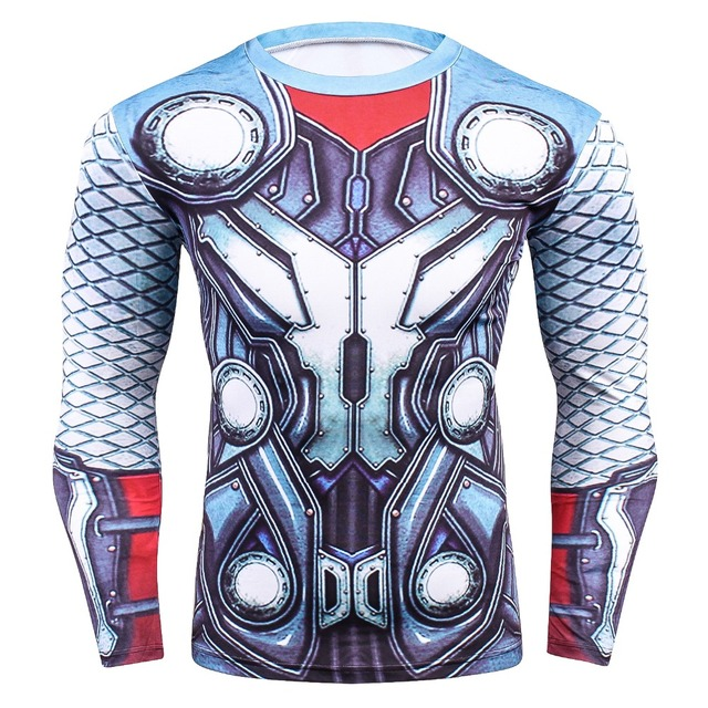Thor Dos Desenhos Animados 3D Impresso camisetas Quick Dry Respirável Calças  Justas de Compressão T- f29737017dd71