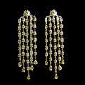 Banhado A ouro Jóias de Luxo Amarelo Cubic Zirconia Declaração Longa Borla Brincos Para As Mulheres