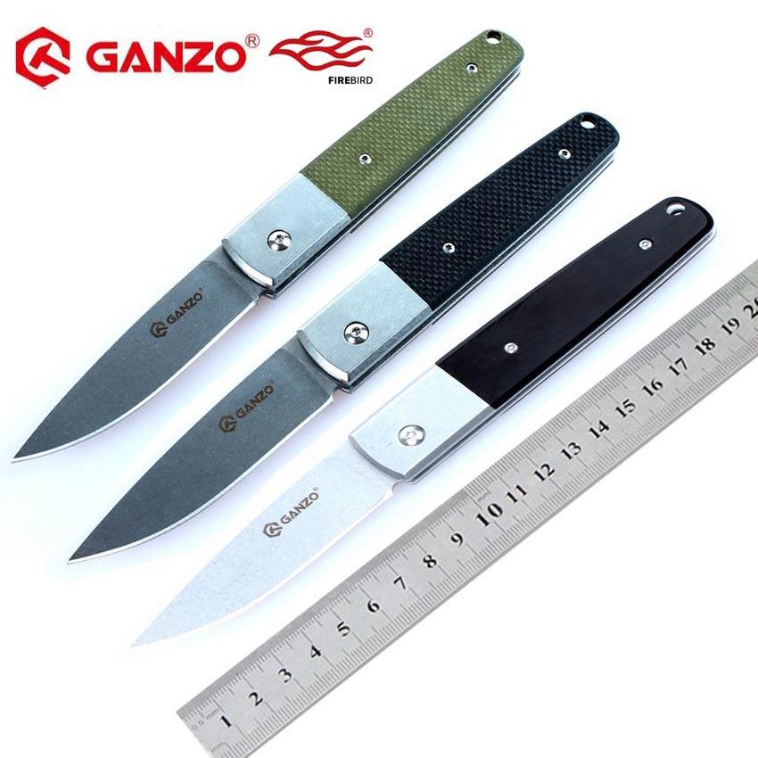 58-60HRC Ganzo de G7212 440C G10 o mango de madera plegable cuchillo de supervivencia Camping herramienta de caza de bolsillo cuchillo táctico edc al aire