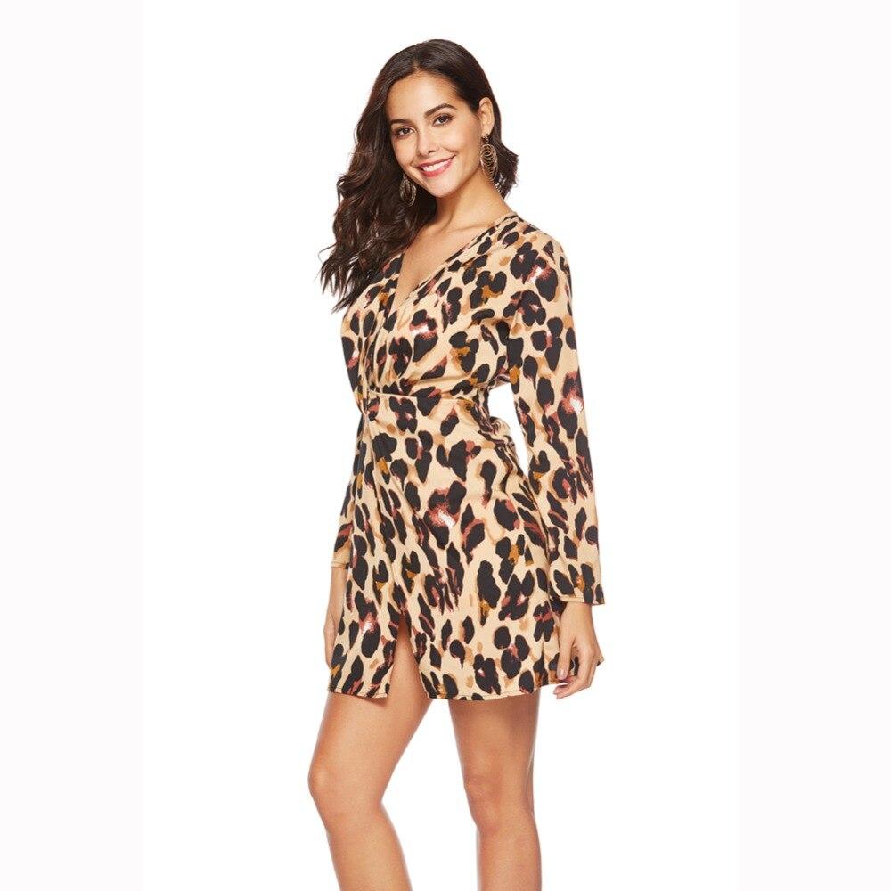 women deep v neck leopard print dress sexy mujer suit dress long sleeves vestidos fashion feminine summer mini chiffon dress in Dresses from Women 39 s Clothing