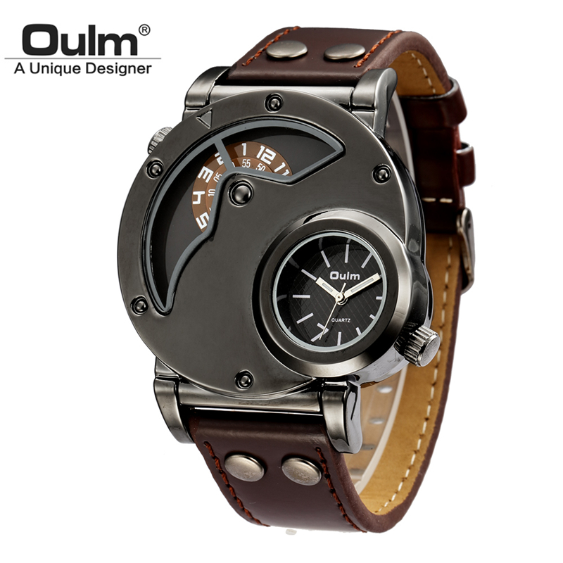 Oulm Watch Man Quartz Watches Top Brand Luxury Leather Strap Military Sport Wristwatch Male Clock relogio