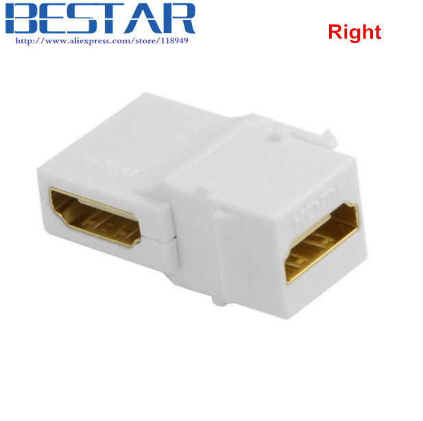 (100pieces/lot)90 Degree Right Angled HDMI 1.4 Snap-in Female to Female Keystone Jack Coupler Angle Adapter for Wall Plate White