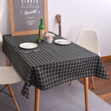 1PC Country Style Linen Geometric Table Cloth Plaid Tablecloth Multifunctional Rectangle Cover Home Kitchen