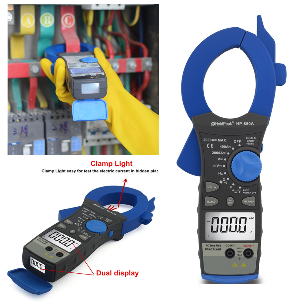 HoldPeak HP-850A True rms 2000A Auto Ranging Clamp Multimeter holdpeak hp 760g 1000volt