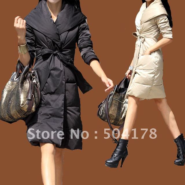 Ladies Fashion Down Coat Female Medium Long Thickening Down ...