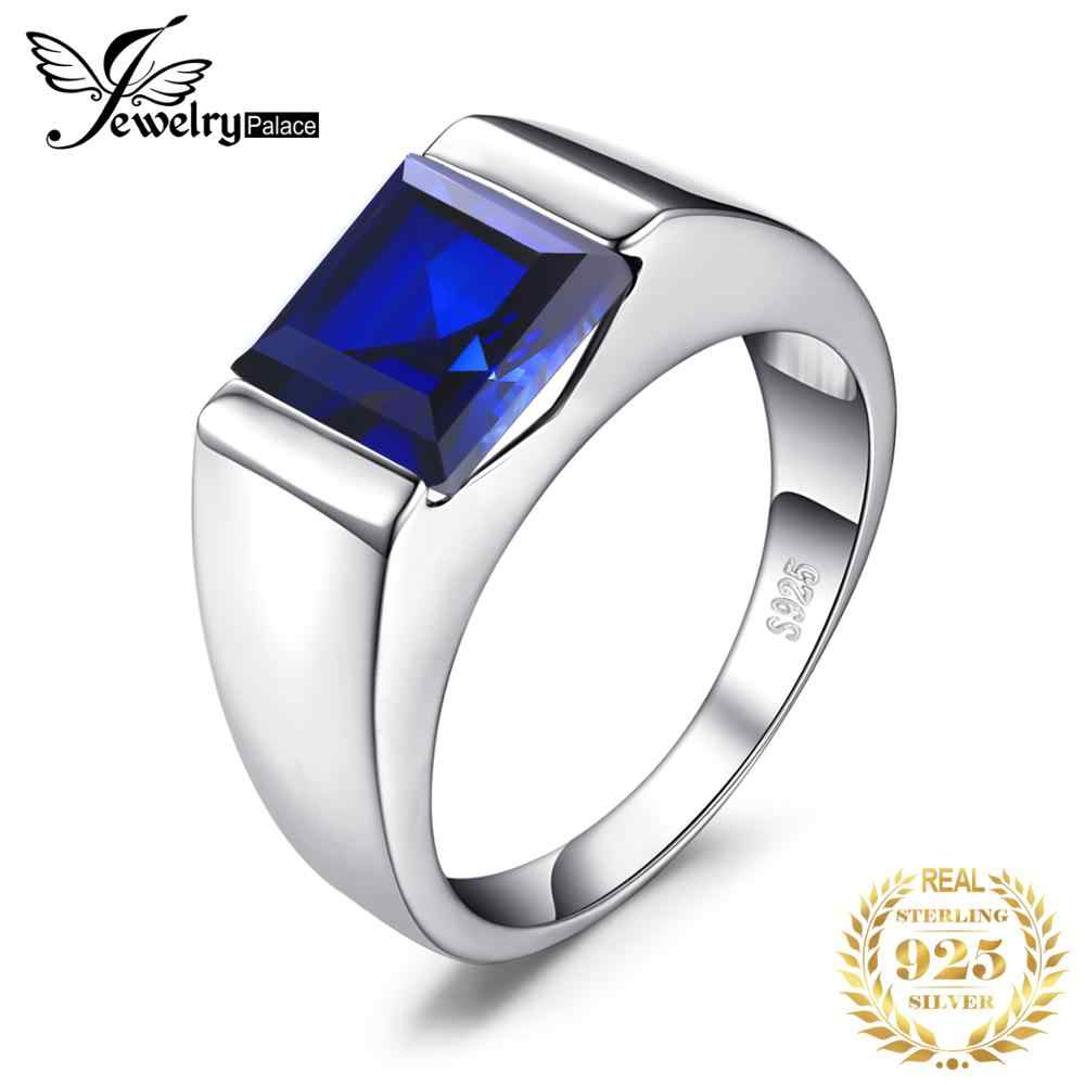 JewelryPalace Men Ring 925 Sterling Sliver 3.3ct Created Blue Sapphire Ring 2019 wedding Ring Fine fashion Brands Jewelry
